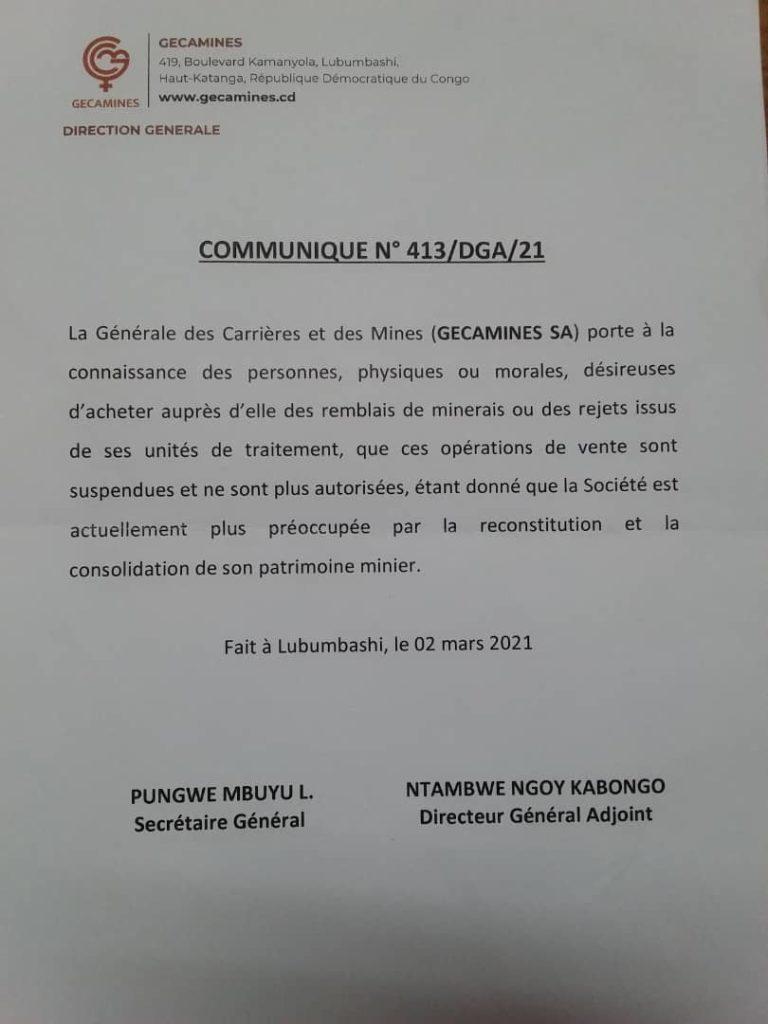 Communique Gecamines